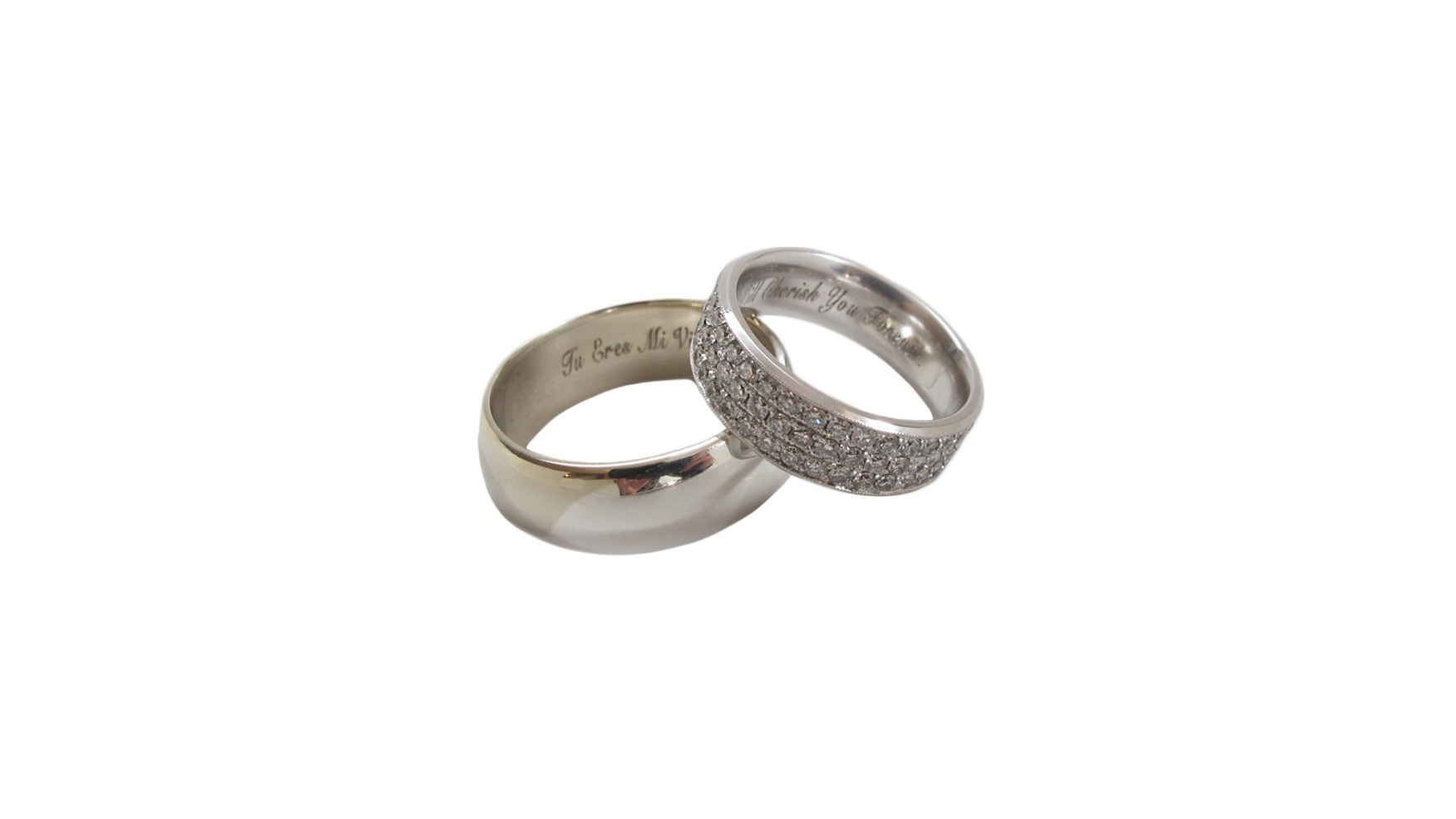 Abe-Mixed Metal 14k White Gold + Platinum Band    Erica-14k White Gold Flat Band with 3 Rows of Micro Pavé