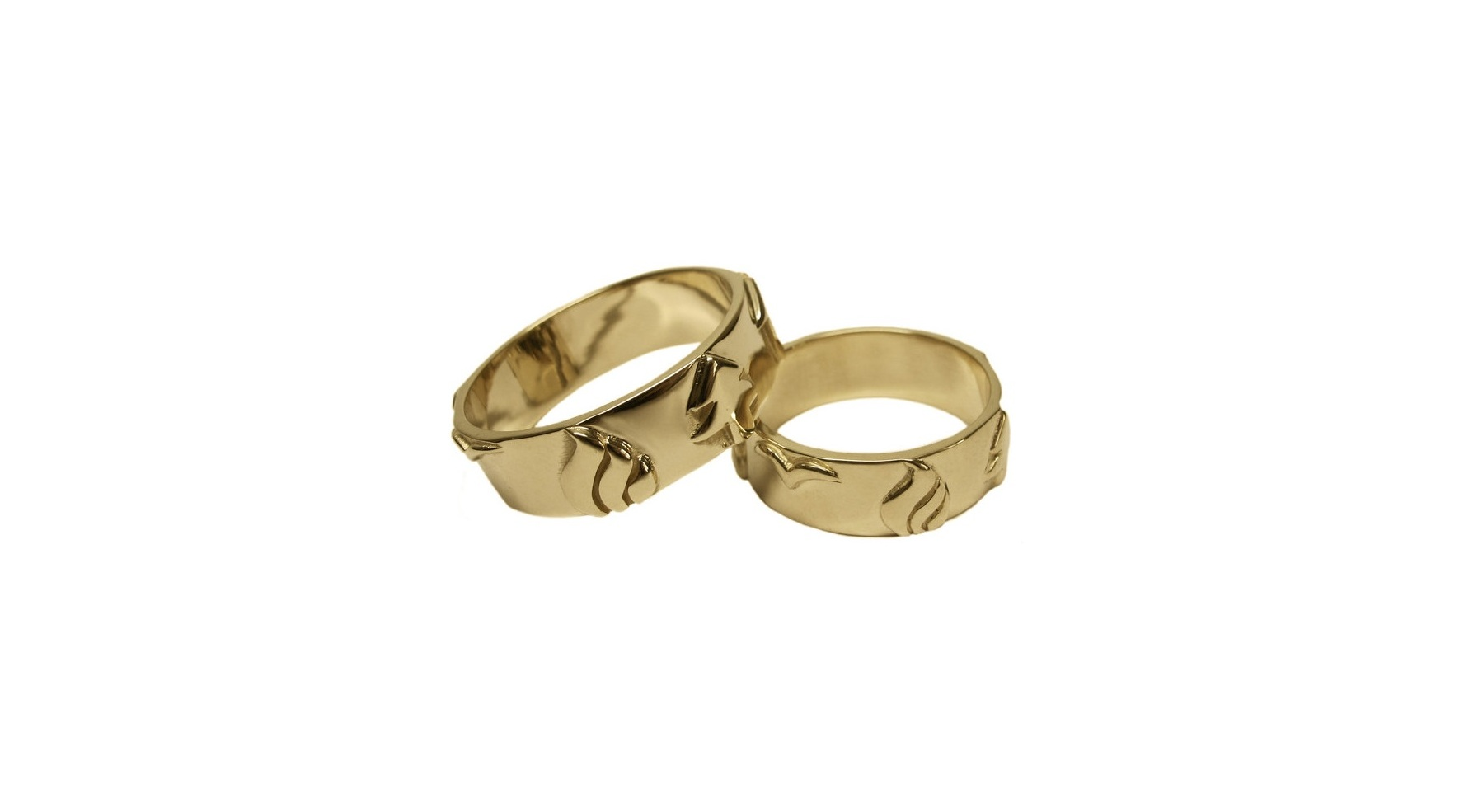 14k Yellow Gold His + His Hand-Carved Wedding Bands with 7 Symbols