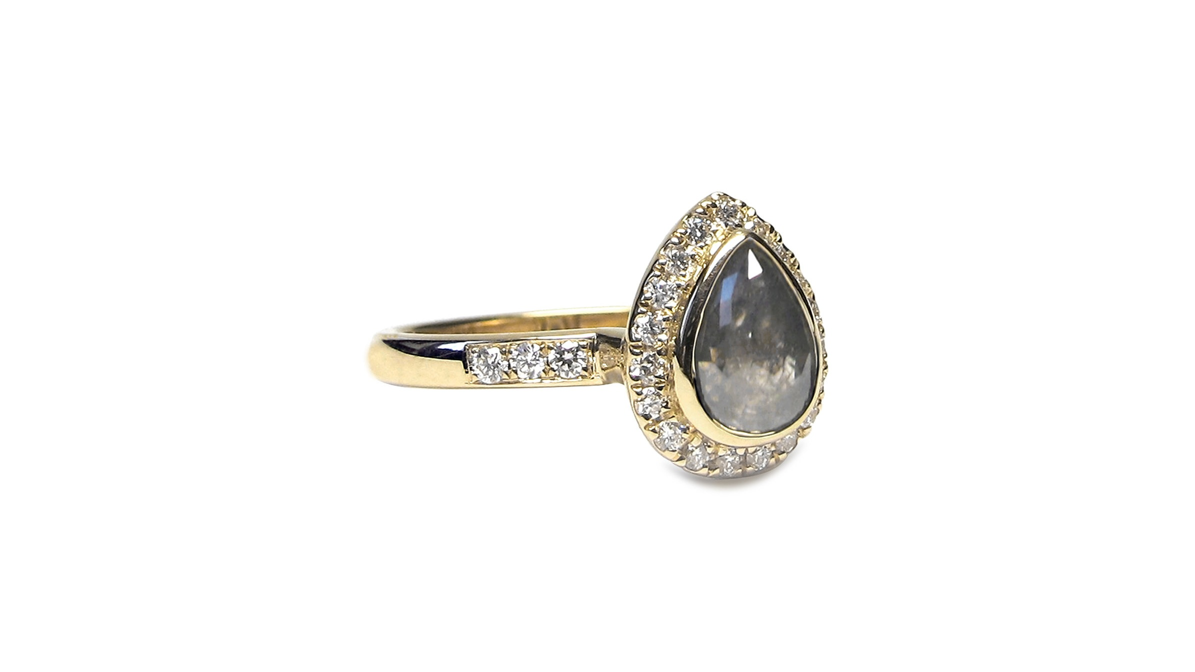 Natural Grey Rose Cut Teardrop Shaped Diamond Bezel Set with Diamond Halo in 14k Yellow Gold
