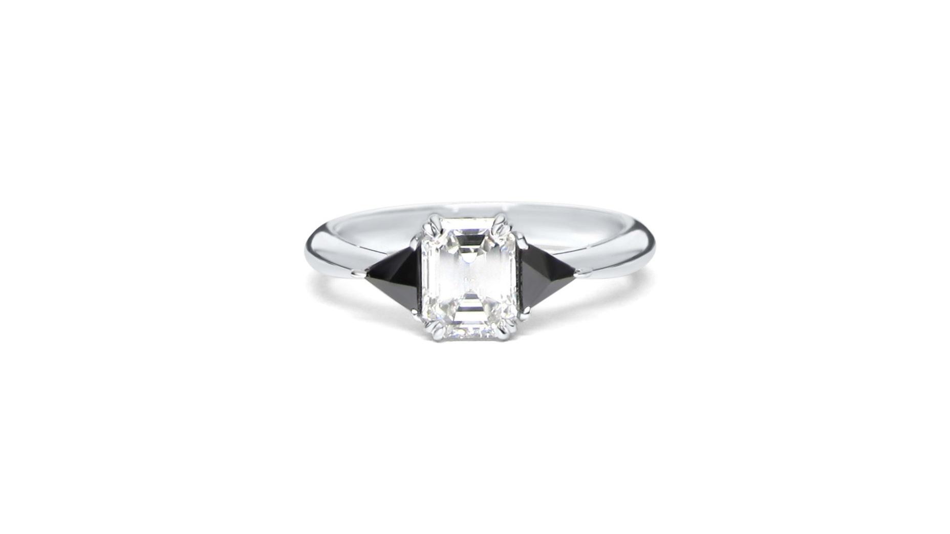 Emerald Cut Center Diamond with 2 Inverted Trillion Black Diamonds Set in 14k White Gold