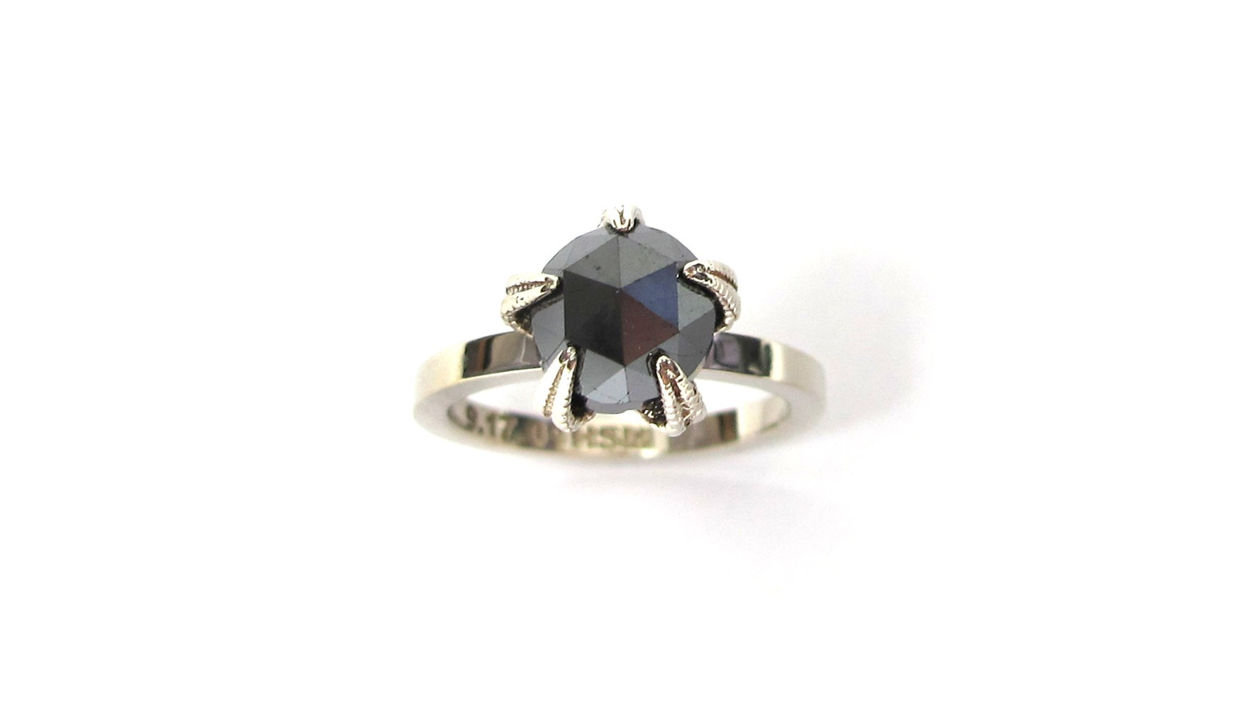 A Real Casting of a Starfish is the Claw Setting for this 14 White Gold Rose Cut Black Diamond Ring
