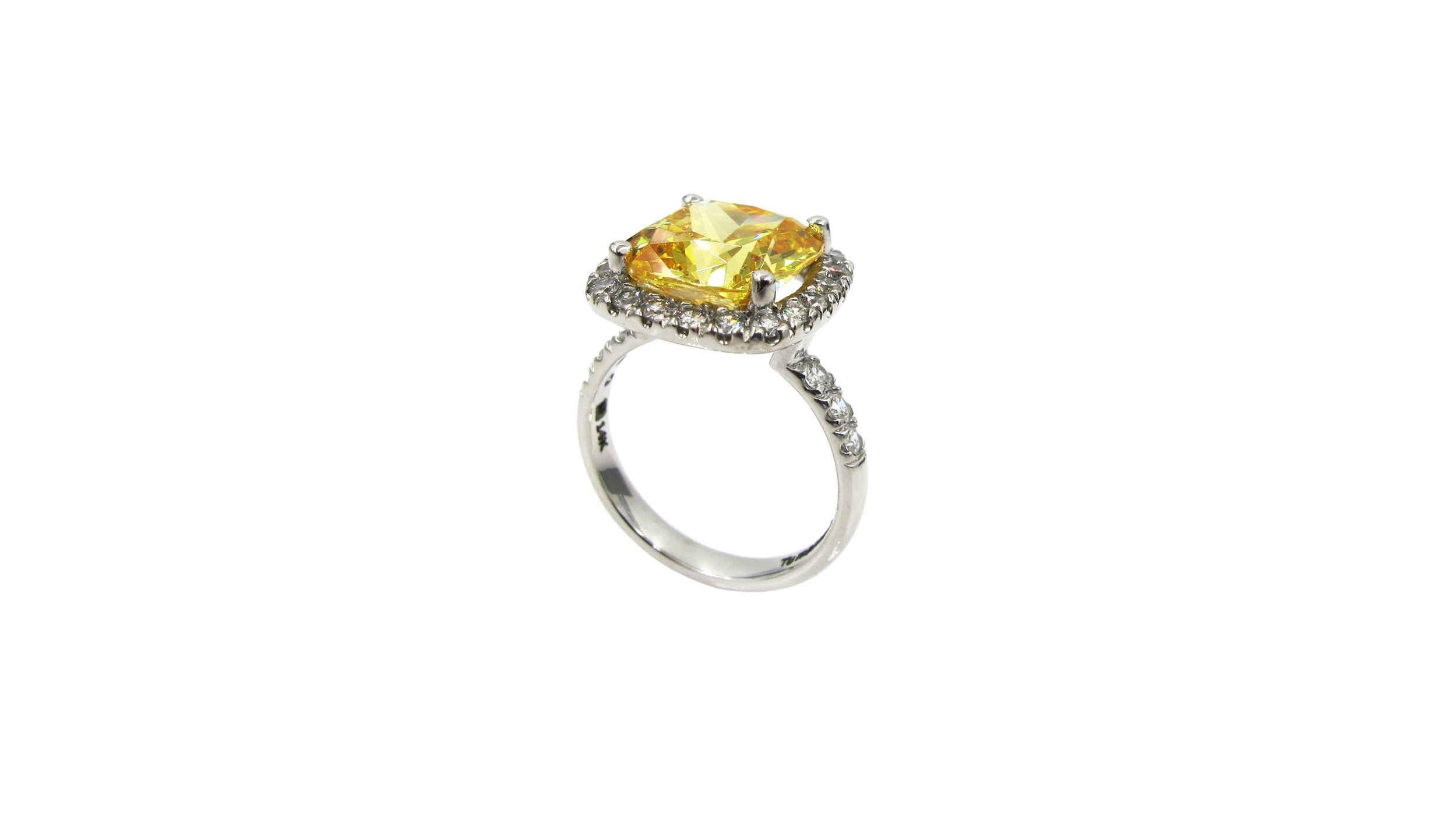 14k White Gold with Yellow Cushion Cut Sapphire Surrounded by a Halo of Micro Pave' Diamonds
