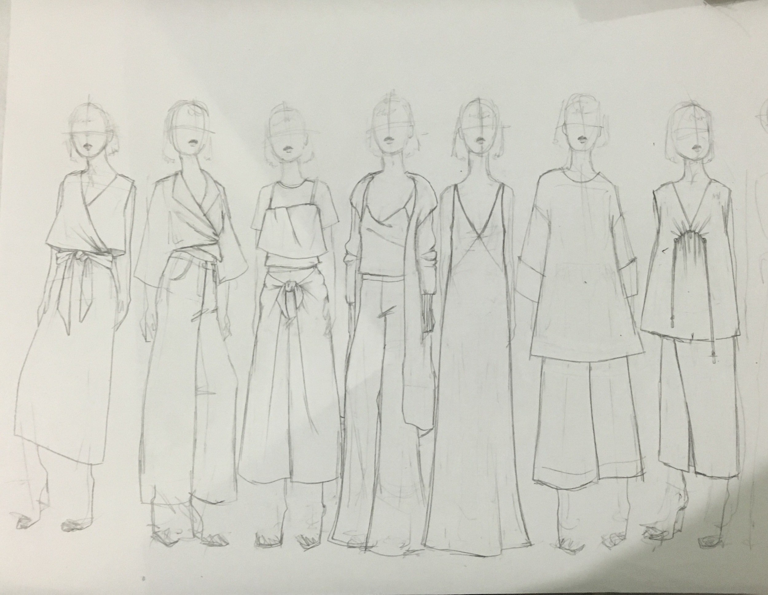 design sketches for a fall womenswear collection