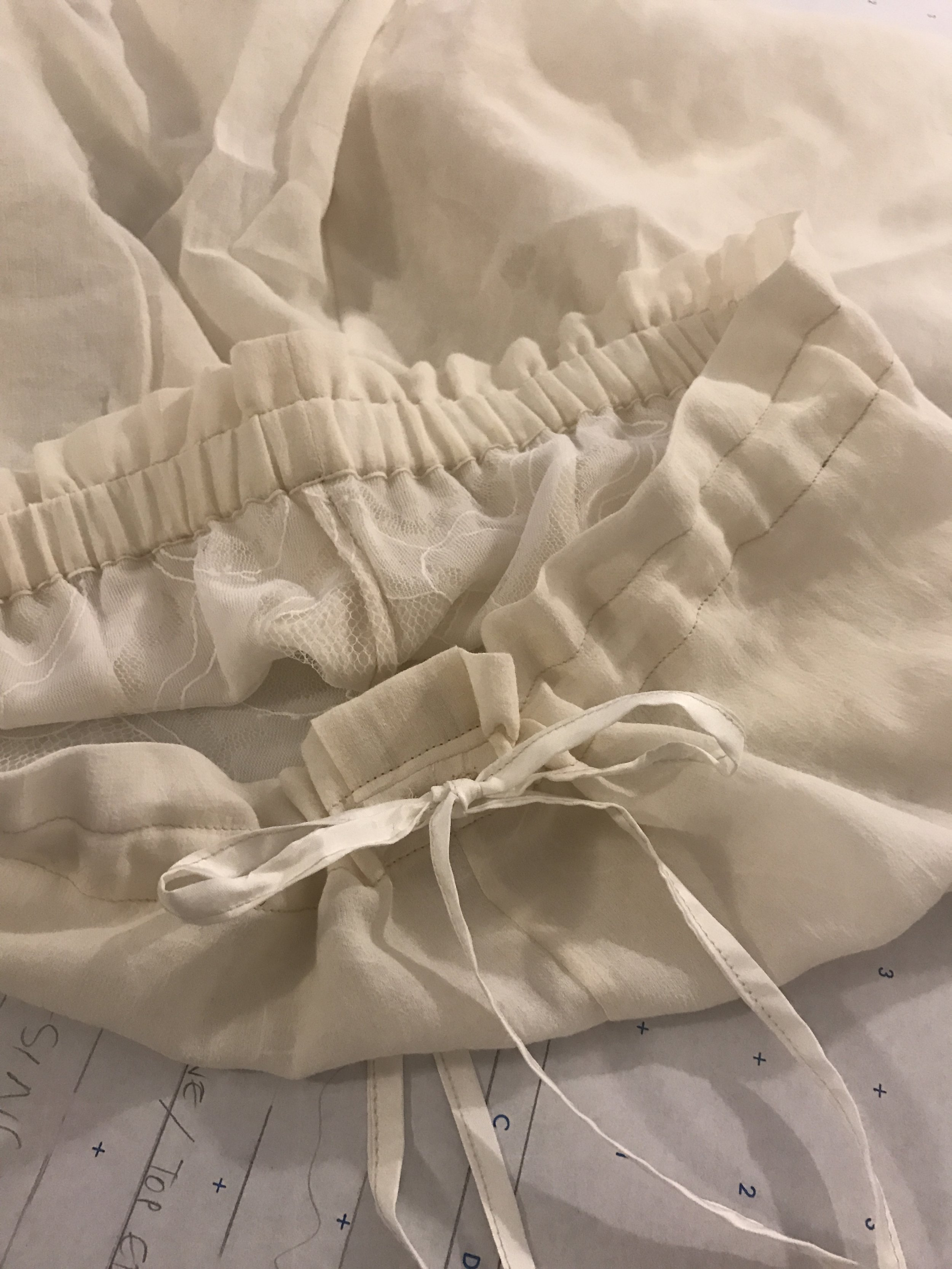 Development, pattern, and construction: proto sample for some dreamy gauze and lace shorts
