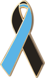 Black and Blue Awareness Ribbon Pin