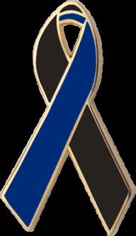 Black and Navy Awareness Ribbon Pin