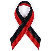 Black and Red Fabric Awareness Ribbons