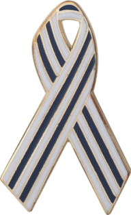 Blue and White Pinstripes Awareness Ribbon Pin