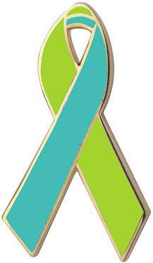 Lime Green and Aqua Awareness Ribbon Pin