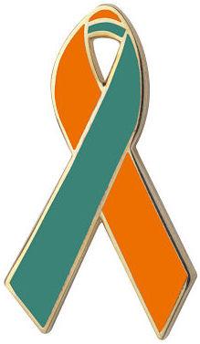 Orange and Green Awareness Ribbon Pin