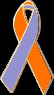 Orange and Lavender Awareness Ribbon Pin