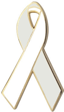Pearl and White Awareness Ribbon Pin