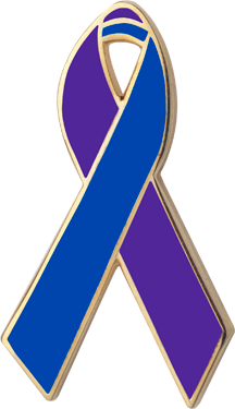 Purple ad Blue Awareness Ribbon Pin