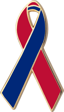 Red and Blue Awareness Ribbon Pin