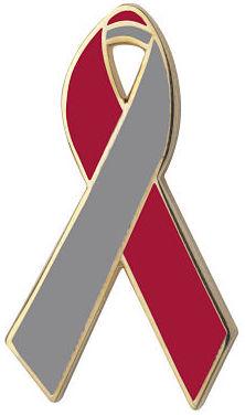 Red and Gray Awareness Ribbon Pin