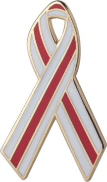 Red and White Pinstripes Awareness Ribbon Pin