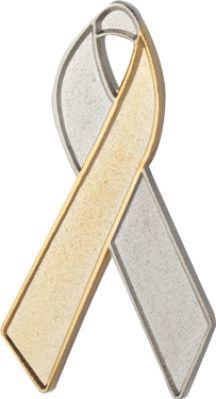 Silver and Gold Awareness Ribbon Pin