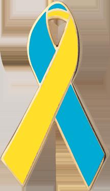 Teal and Yellow Awareness Ribbon Pin