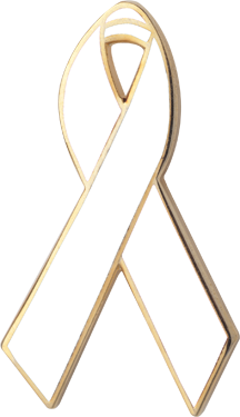 White Awareness Ribbon Pin