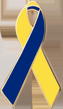 Yellow and Blue Awareness Ribbon Pin