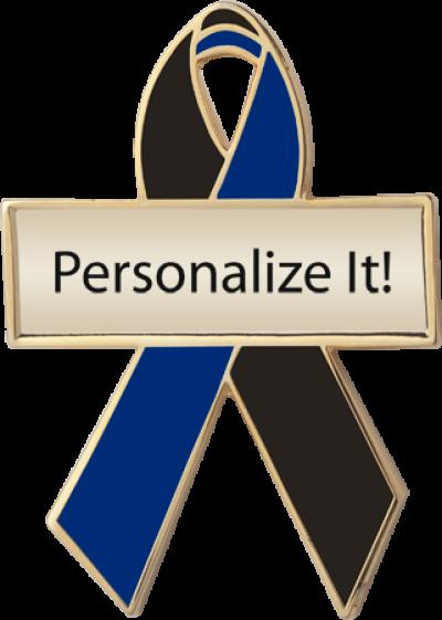 Personalized Black and Navy Awareness Ribbon Pin