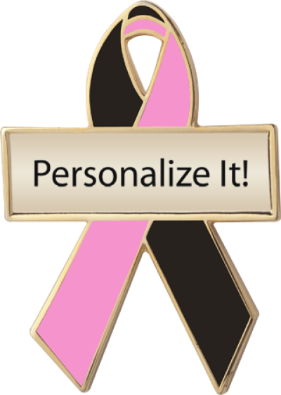 Personalized Black and Pink Awareness Ribbon Pin