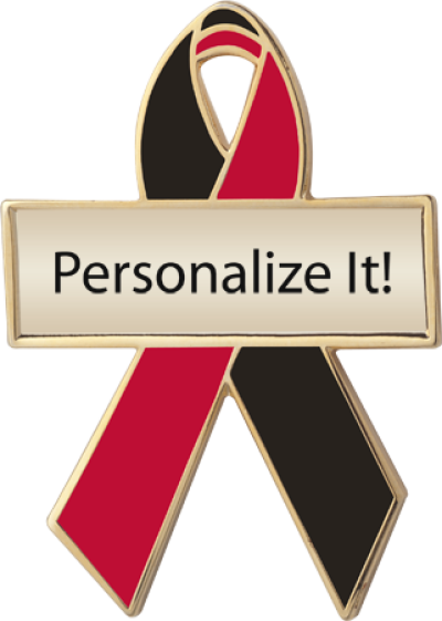 Personalized Black and Red Awareness Ribbon Pin