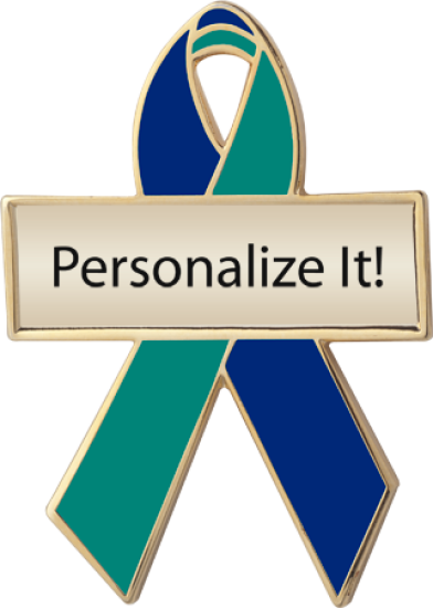 Personalized Blue and Green Awareness Ribbon Pin