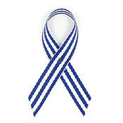 Blue and White Fabric Awareness Ribbons
