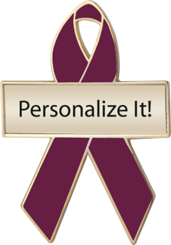 Personalized Burgundy Awareness Ribbon Pin