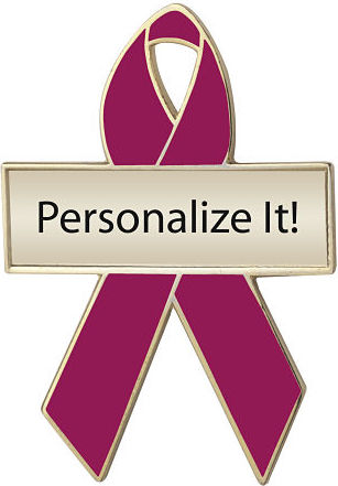 Personalized Cranberry Awareness Ribbon Pin