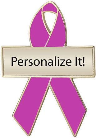 Personalized Fuchsia Awareness Ribbon Pin