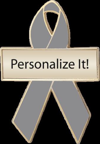 Personalized Gray Awareness Ribbon Pin