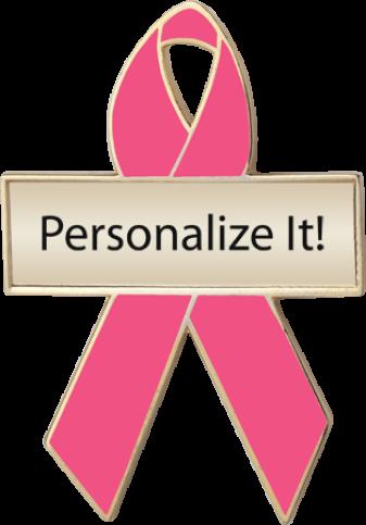 Personalized Hot Pink Awareness Ribbon Pin