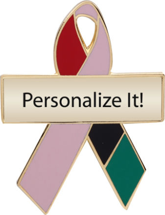 Personalized Kente Cloth and Pink Awareness Ribbon Pin