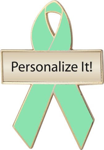 Personalized Light Green Awareness Ribbon Pin