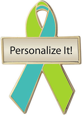 Personalized Lime Green and Aqua Awareness Ribbon Pin
