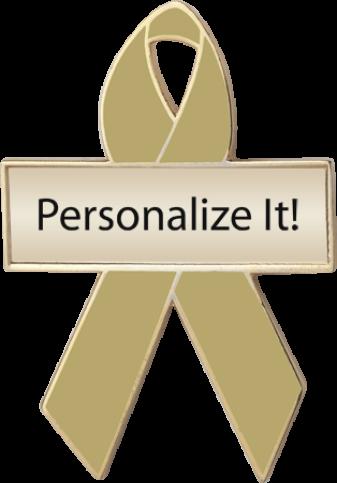 Personalized Olive Green Awareness Ribbon Pin