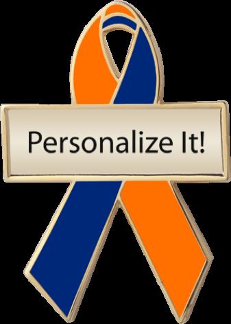 Personalized Orange and Blue Awareness Ribbon Pin