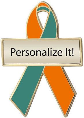 Personalized Orange and Green Awareness Ribbon Pin