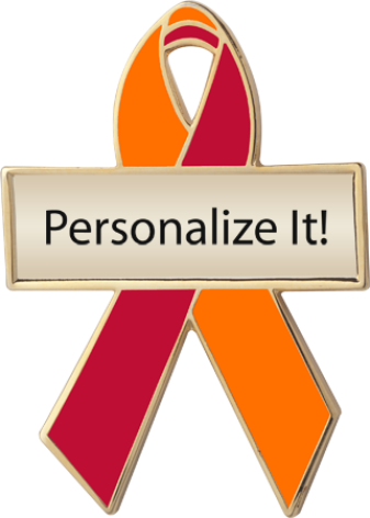 Personalized Orange and Red Awareness Ribbon Pin