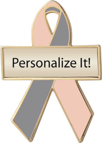Personalized Peach and Gray Awareness Ribbon Pin