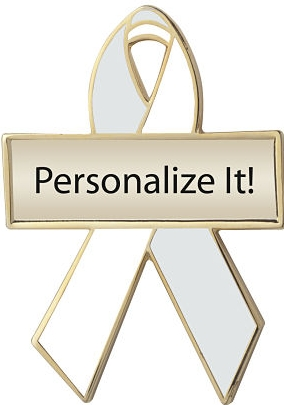 Personalized Pearl and White Awareness Ribbon Pin