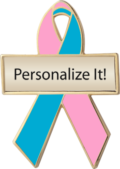 Personalized Pink and Teal Awareness Ribbon Pin