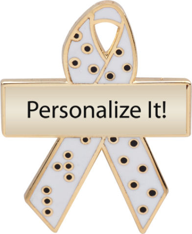 Personalized Braille Awareness Ribbon Pin