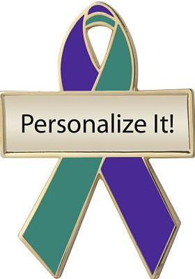Personalized Purple and Green Awareness Ribbon Pin