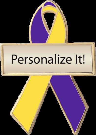 Personalized Purple and Yellow Awareness Ribbon Pin