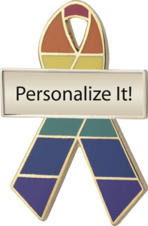 Personalized Rainbow Awareness Ribbon Pin