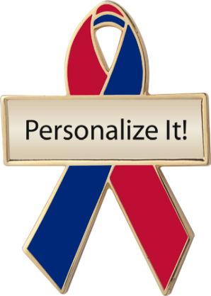 Personalized Red and Blue Awareness Ribbon Pin