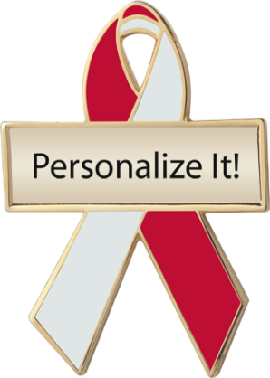 Personalized Red and Pearl Awareness Ribbon Pin